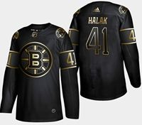 Mens Nhl Boston Bruins #41 Halak 2019 Champion Black Golden Adidas Jersey