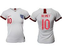 Women 19-20 Soccer England National Team #10 Rooney White Home Short Sleeve Jersey