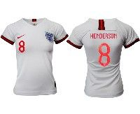 Women 19-20 Soccer England National Team #8 Henderson White Home Short Sleeve Jersey