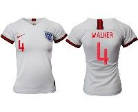 Women 19-20 Soccer England National Team #4 Walker White Home Short Sleeve Jersey