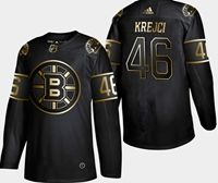 Mens Nhl Boston Bruins #46 Krejci 2019 Champion Black Golden Adidas Jersey