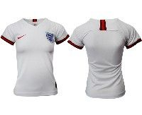 Women 19-20 Soccer England National Team Blank White Home Short Sleeve Jersey
