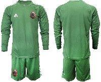 Mens 19-20 Soccer Mexico National Team Custom Made Green Goalkeeper Long Sleeve Suit Jersey