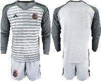 Mens 19-20 Soccer Mexico National Team Custom Made Gray Goalkeeper Long Sleeve Suit Jersey