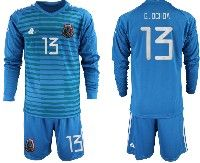 Mens 19-20 Soccer Mexico National Team #13 Guillermo Ochoa Blue Goalkeeper Long Sleeve Suit Jersey