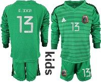 Youth Soccer 19-20 Mexico National Team #13 Guillermo Ochoa Green Goalkeeper Long Sleeve Suit Jersey
