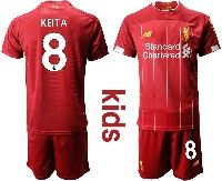 Youth 19-20 Soccer Liverpool Club #8 Keita Red Home Short Sleeve Suit Jersey
