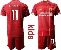 Youth 19-20 Soccer Liverpool Club #11 M.salah Red Home Short Sleeve Suit Jersey
