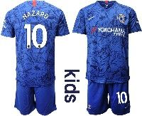 Youth 19-20 Soccer Chelsea Club #10 Hazard Blue Home Short Sleeve Suit Jersey