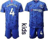 Youth 19-20 Soccer Chelsea Club #4 Fabregas Blue Home Short Sleeve Suit Jersey