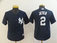 Youth Mlb New York Yankees #2 Derek Jeter Navy Cool Base Jersey