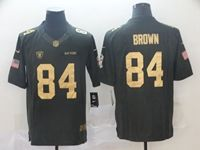 Mens Nfl Oakland Raiders #84 Antonio Brown Black Salute To Service Gold Number Limited Jersey