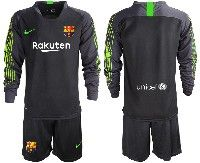 Youth 19-20 Soccer Barcelona Club Custom Made Black Goalkeeper Long Sleeve Suit Jersey