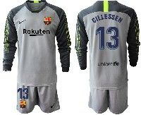 Youth 19-20 Soccer Barcelona Club #13 Jasper Cillessen Gray Goalkeeper Long Sleeve Suit Jersey