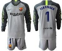 Youth 19-20 Soccer Barcelona Club #1 Marc-andre Ter Stege Gray Goalkeeper Long Sleeve Suit Jersey
