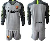 Youth 19-20 Soccer Barcelona Club Custom Made Gray Goalkeeper Long Sleeve Suit Jersey