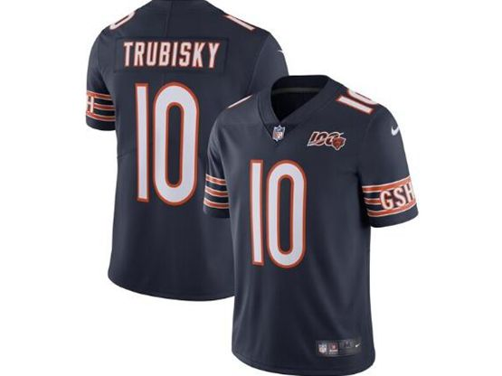 Mens Nfl Chicago Bears #10 Mitchell Trubisky Navy Blue 100th Season Nike Vapor Untouchable Limited Jersey