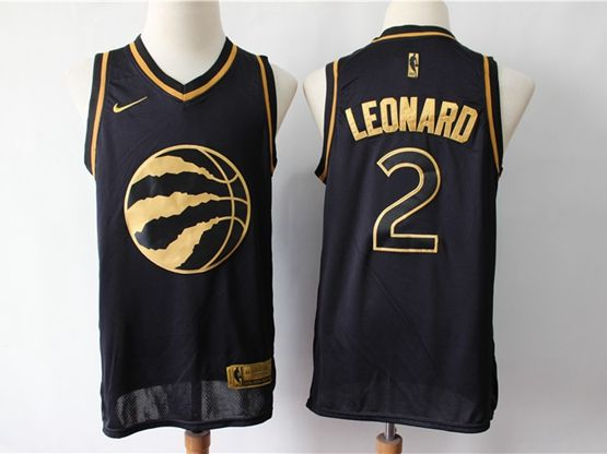 Mens Nba Toronto Raptors #2 Kawhi Leonard Black Gold Collection Of Limited Edition Jersey