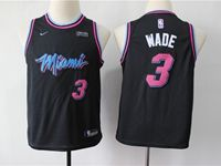 Youth 2018-19 Nba Miami Heat #3 Dwyane Wade Black Nike City Edition Jersey