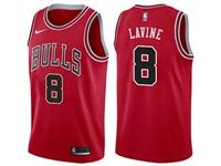 Mens Nba Chicago Bulls #8 Zach Lavine Bulls Red Nike Swingman Statement Jersey