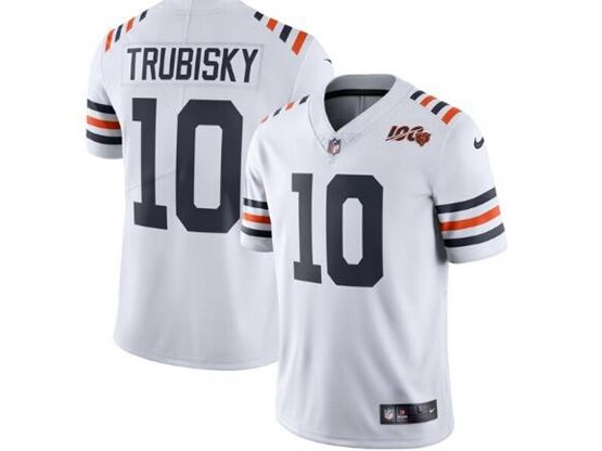 Women And Youth Nfl Chicago Bears #10 Mitchell Trubisky White 100th Season Retired Nike Vapor Untouchable Limited Jersey