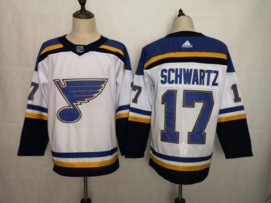 Mens Nhl St.louis Blues #17 Jaden Schwartz White Adidas Jersey