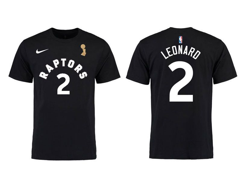 Mens Nba Toronto Raptors Nike Black #2 Kawhi Leonard 2019 Nba Finals Champions T shirt