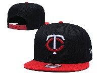 Mens Mlb Minnesota Twins Snapback Adjustable Hats New Era Black With Red