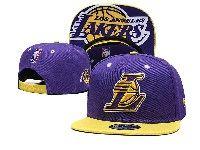 Mens Nba Los Angeles Lakers Snapback Adjustable Hats Big L New Era Pruple With Yellow