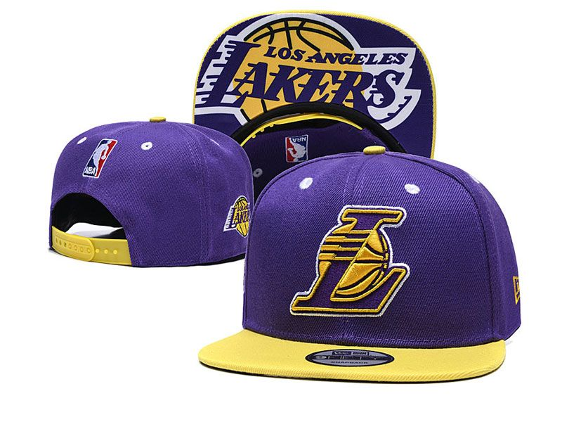 Mens Nba Los Angeles Lakers Snapback Adjustable Hats Big L New Era Pruple With Yellow