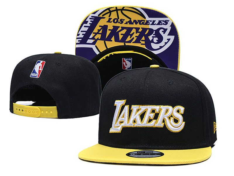 Mens Nba Los Angeles Lakers Snapback Adjustable Hats New Era Black With Yellow