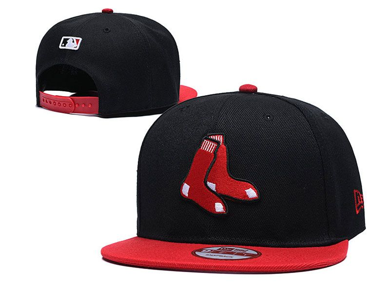 Mens Mlb Boston Red Sox  Snapback Adjustable Hats New Era Black With Red