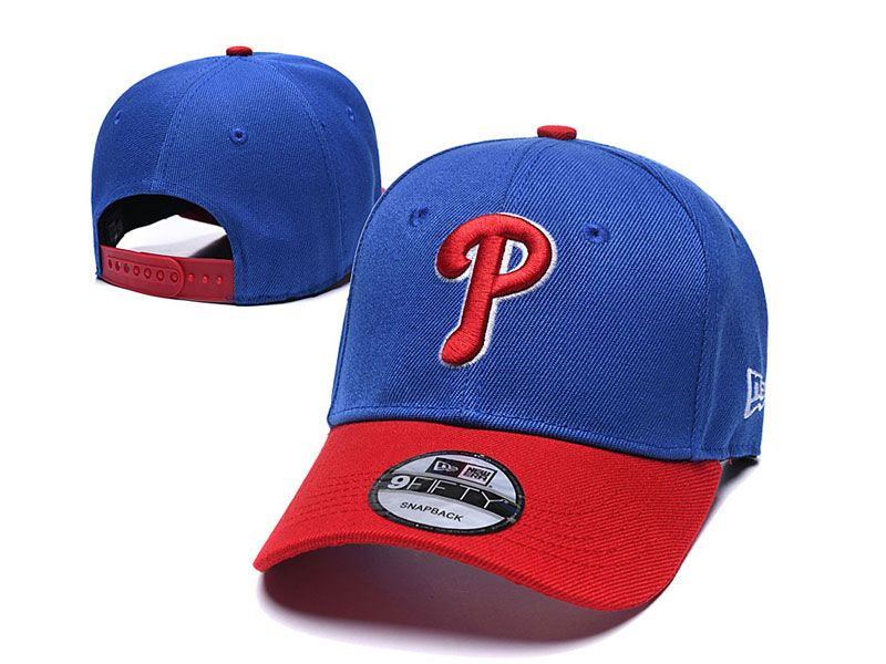 Mens Mlb Philadelphia Phillies Snapback Adjustable Hats New Era Blue With Red