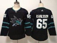 Women Youth Adidas Nhl San Jose Sharks #65 Erik Karlsson Blank Alternate Black Jersey