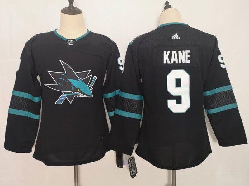 Women Youth Adidas Nhl San Jose Sharks #9 Evander Kane Blank Alternate Black Jersey
