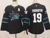 Women Youth Adidas Nhl San Jose Sharks #19 Joe Thornton Blank Alternate Black Jersey