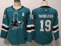 Women Youth Adidas Nhl San Jose Sharks #19 Joe Thornton Green Home Jersey