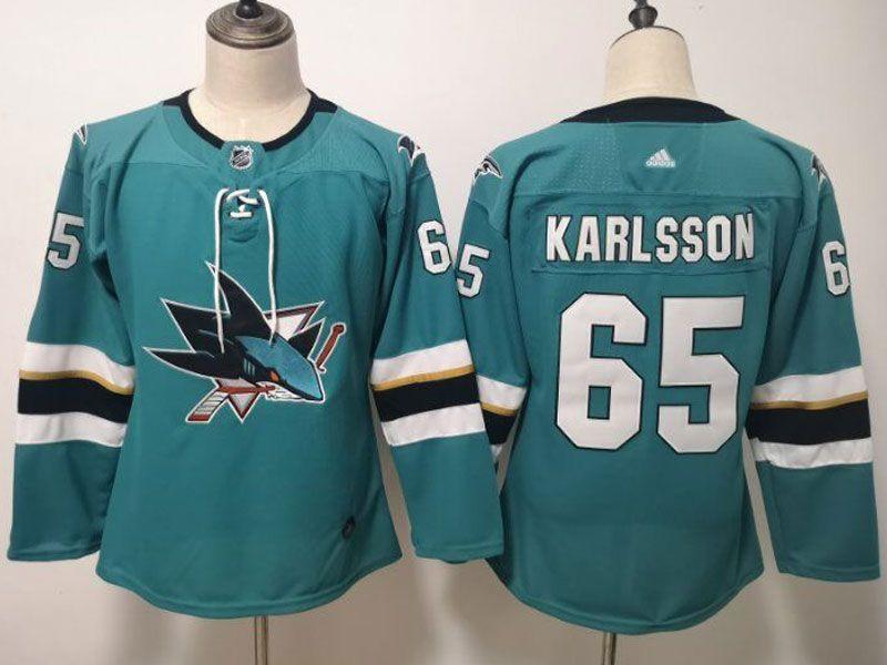 Women Youth Adidas Nhl San Jose Sharks #65 Erik Karlsson Green Home Jersey