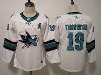 Women Youth Adidas Nhl San Jose Sharks #19 Joe Thornton White Away Jersey