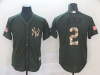 Mens New York Yankees #2 Derek Jeter Green Camo Number Cool Base Jersey