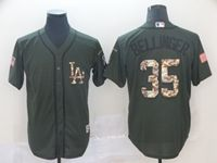 Mens Mlb Los Angeles Dodgers #35 Cody Bellinger Green Camo Number Cool Base Jersey