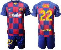 Mens Nike 19-20 Soccer Barcelona Club #22 Vidal Royal Home 20 Anniversary Special Edition Short Sleeve Suit Jersey
