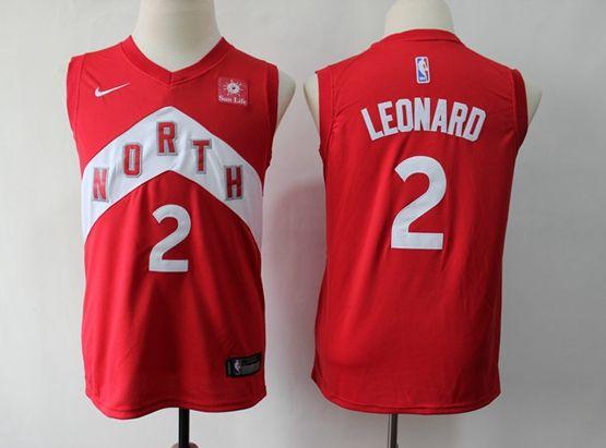 Youth 2018-19 Nba Toronto Raptors #2 Kawhi Leonard Red Playoff Award Edition Nike Swingman Jersey