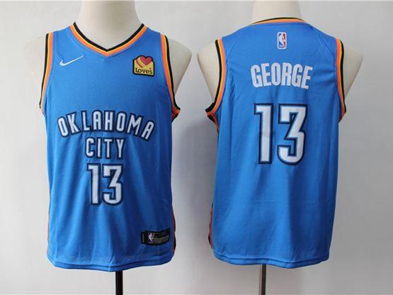 Youth Nba Oklahoma City Thunder #13 Paul George Blue Swingman Jersey