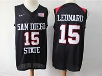 Mens Ncaa Nba San Diego State #15 Leonard Black With The Flag Jersey
