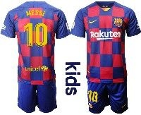 Youth Nike 19-20 Soccer Barcelona Club #10 Lionel Messi Royal Home 20 Anniversary Special Edition Short Sleeve Suit Jersey