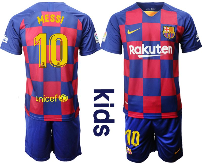 Kids Nike 19-20 Soccer Barcelona Club #10 Lionel Messi Royal Home 20 Anniversary Special Edition Short Sleeve Suit Jersey