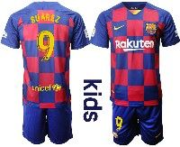 Youth Nike 19-20 Soccer Barcelona Club #9 Luis Suarez Royal Home 20 Anniversary Special Edition Short Sleeve Suit Jersey