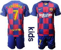 Youth Nike 19-20 Soccer Barcelona Club #7 Coutinho Royal Home 20 Anniversary Special Edition Short Sleeve Suit Jersey