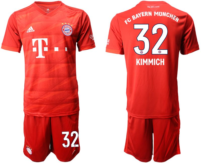 Mens 19-20 Soccer Bayern Munchen #32 Kimmich Red Home Short Sleeve Suit Jersey
